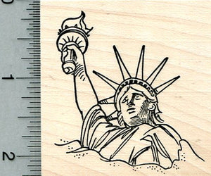 Statue of Liberty Rubber Stamp, Buried in Sand, New York City Monument