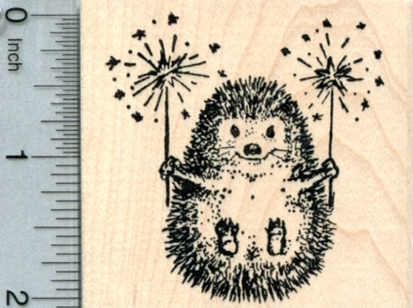 4th of July Hedgehog Rubber Stamp, Fireworks, Guy Fawkes, Diwali