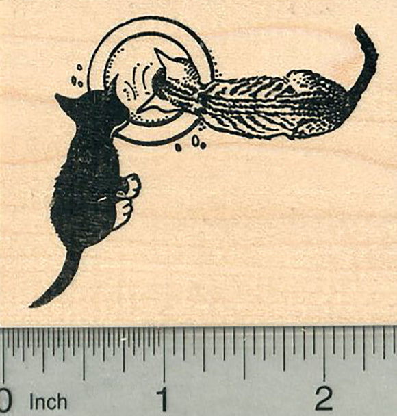 Cat Rubber Stamp, Two Kittens with Saucer