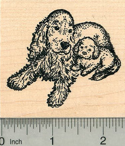 Cocker Spaniel Rubber Stamp, Dog with Puppy