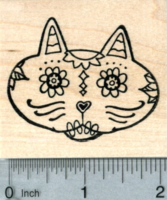 Sugar Skull Cat Rubber Stamp, Día de los Muertos, Day of the Dead