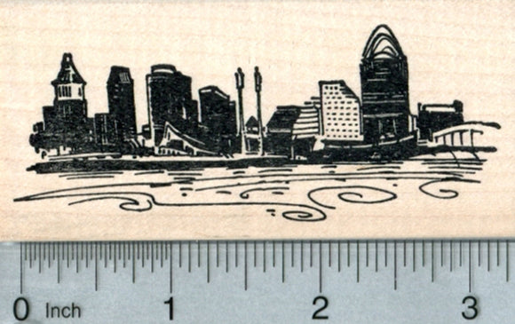 Cincinnati Skyline Rubber Stamp, Ohio River, Travel Series