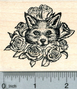 Valentine's Day Fox Rubber Stamp, with Roses