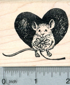 Valentine's Day Mouse Rubber Stamp, with Flower