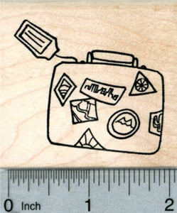Traveler's Luggage Rubber Stamp, with Tag