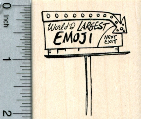 World's Largest Emoji Rubber Stamp, Sign, Road Trip Series