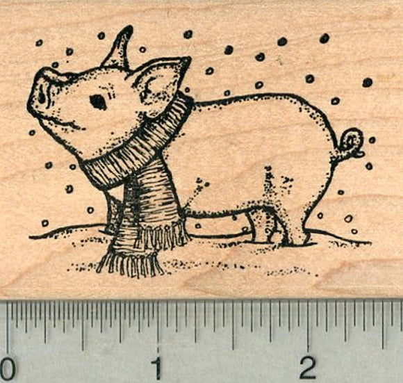 Pig Rubber Stamp, in Snow, Year of the Pig