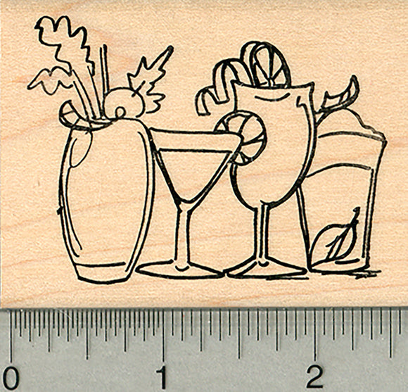 Cocktails Rubber Stamp, Line of Drinks on Bar