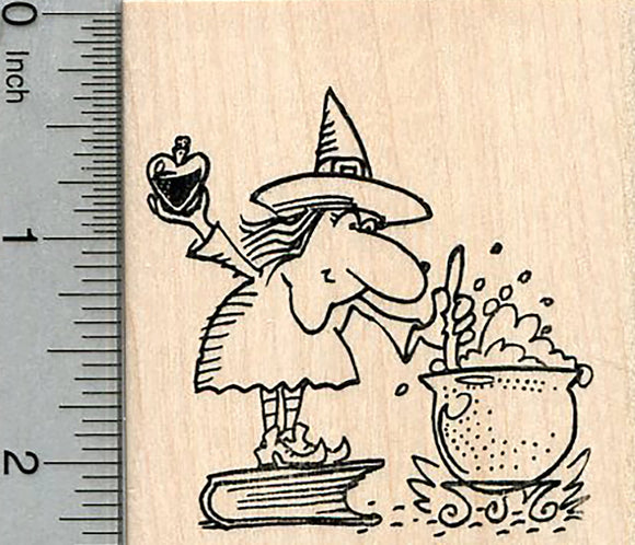 Halloween Witch Rubber Stamp, with Love Potion