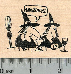 Halloween Witches Rubber Stamp, on Bar Stools, Girl Talk, Humorous