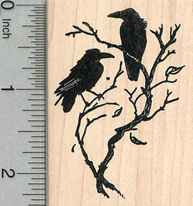 Raven Rubber Stamp, Two Birds on a Branch, Halloween Series