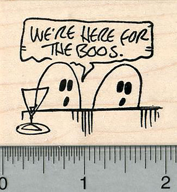 Halloween Ghost Rubber Stamp, Here for the Boos