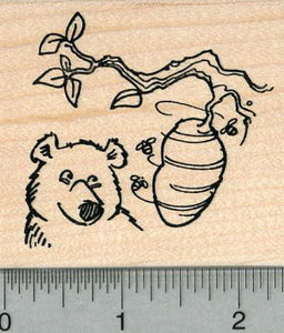 Honey Bear Rubber Stamp, with Bee Hive