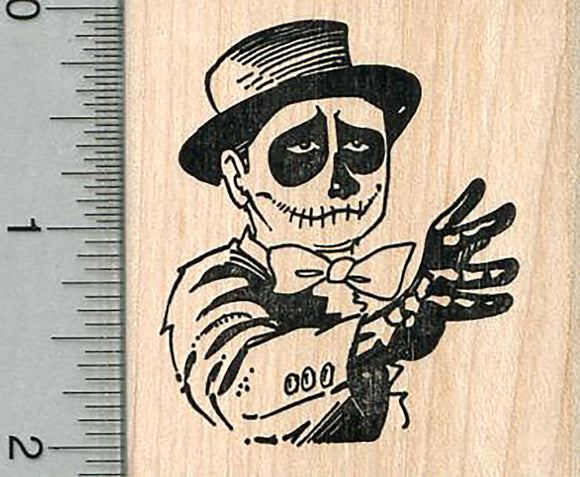 Skeleton Rubber Stamp, Day of the Dead Series
