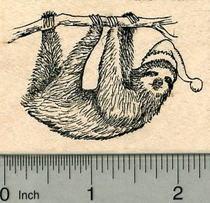 Christmas Sloth Rubber Stamp, in Santa Hat