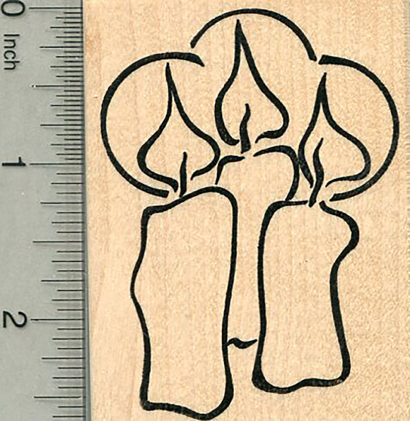 Christmas Candles Rubber Stamp, Holiday trio of lights