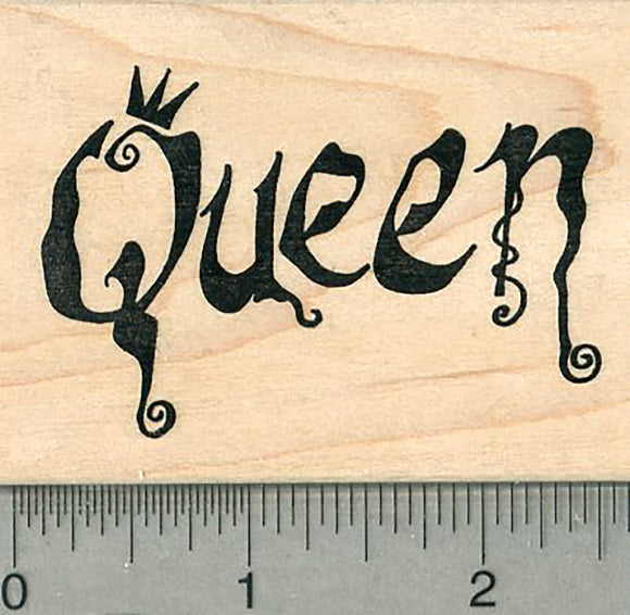 Queen Rubber Stamp, with Crown, and Curlie Cues