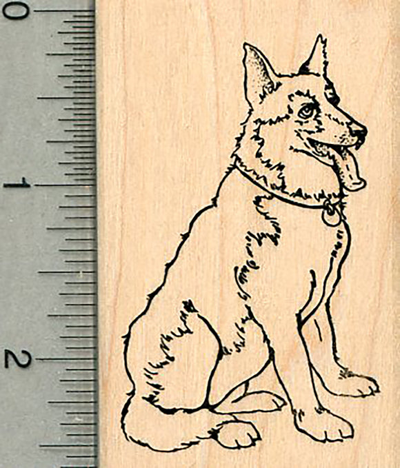 German Shepherd Rubber Stamp, Dog Sitting