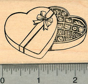 Valentine's Day Rubber Stamp, Heart Shaped Box of Chocolates