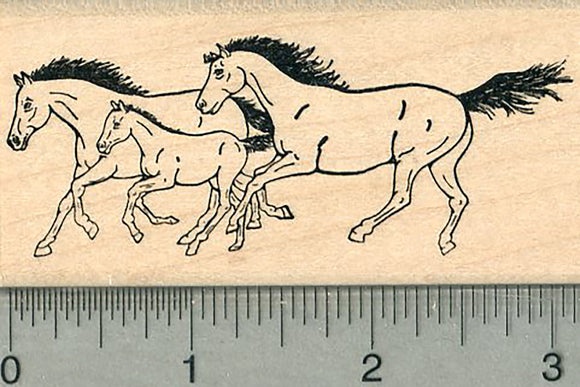 Three Horses Rubber Stamp