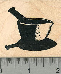 "Mortar and Pestle Rubber Stamp, Pharmacy Symbol 1.6"" tall"