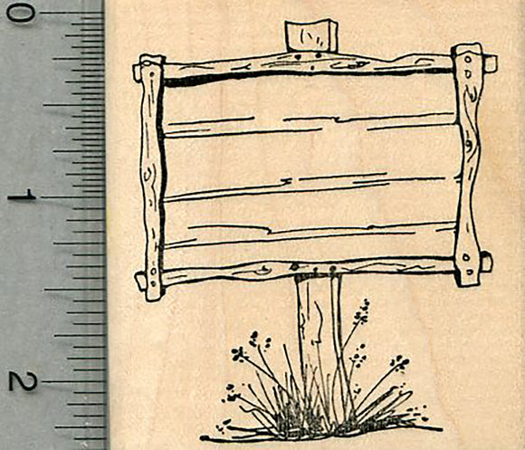 Wooden Sign Rubber Stamp, Blank, Not customizable