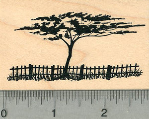 Tree Rubber Stamp, with Fence, Scenery Series