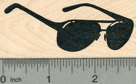 Aviator Sunglasses Rubber Stamp, Side View, 2 7/8