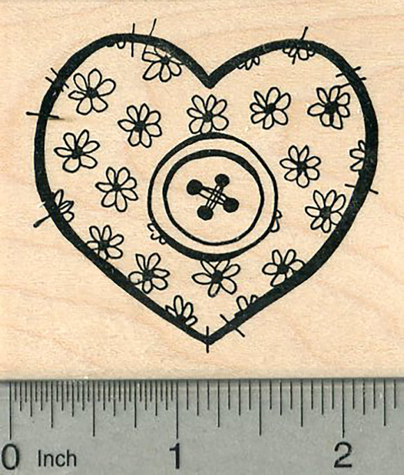 Sewing Valentine Rubber Stamp, with Floral Pattern and Single Button