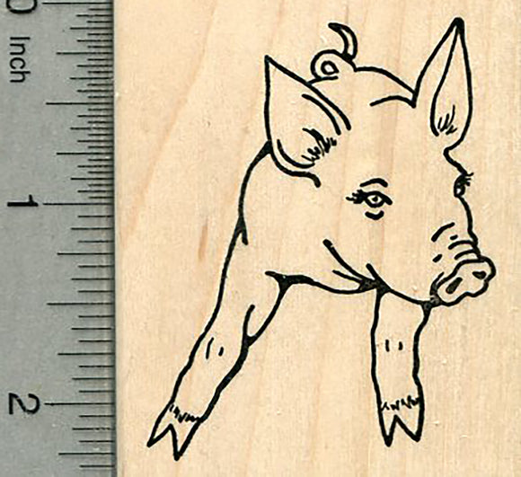 Piglet Rubber Stamp, Young pig, Farm Series