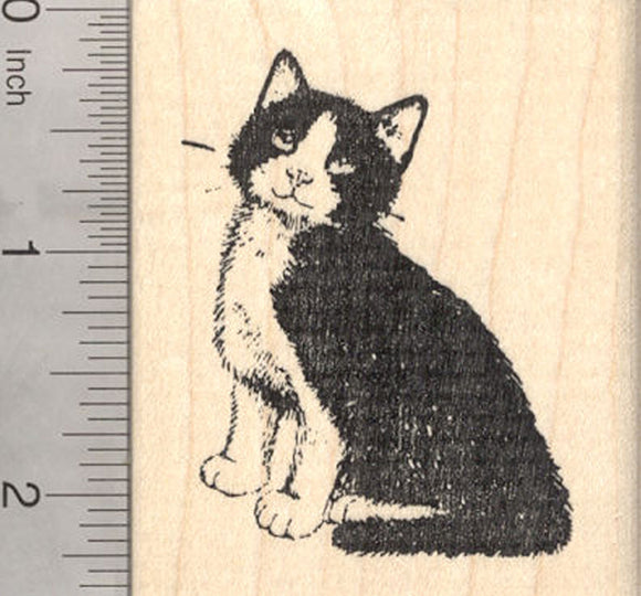 Tuxedo Cat Rubber Stamp, Black And White, Bib And Mitts