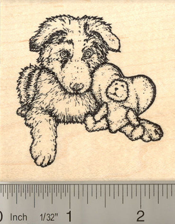 Australian Shepherd Puppy Rubber Stamp