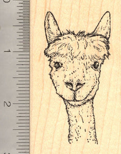 Alpaca Portrait Rubber Stamp