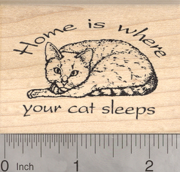 Cat Rubber Stamp, Home is where