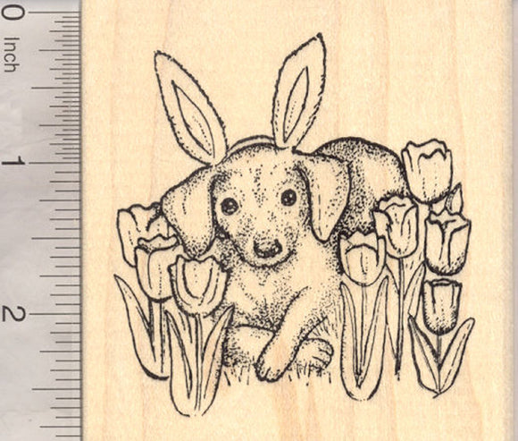 Easter Dachshund Dog Rubber Stamp