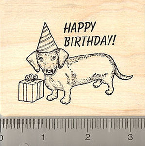 Happy Birthday Dachshund Dog Rubber Stamp