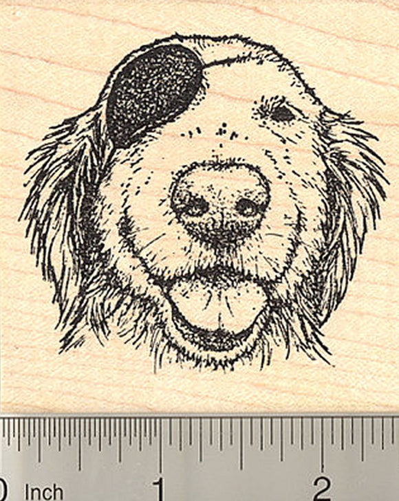 Pirate Golden Retriever Rubber Stamp, Dog in Eye Patch