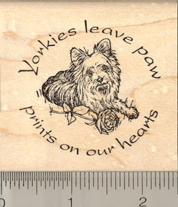 Yorkshire Terrier Rubber Stamp, Yorkies leave paw prints, Yorkie Dog