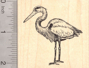Great Blue Heron Rubber Stamp, Coastal Bird, Egret, Bittern