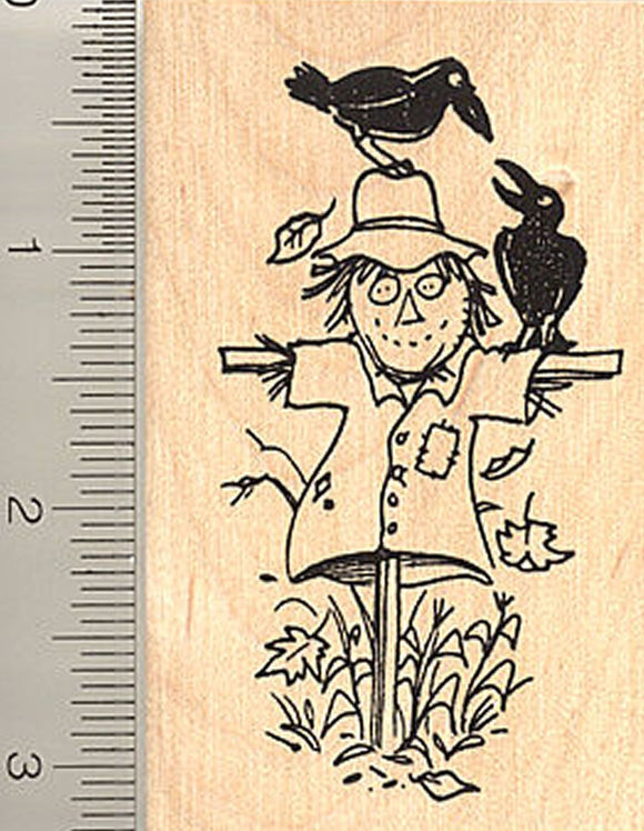 Scarecrow Rubber Stamp, in Field with Crows