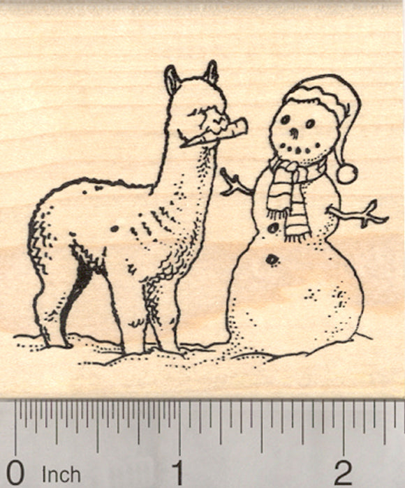 Cute Alpaca Snowman Snack Rubber Stamp - Wood Mounted
