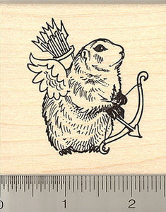 Groundhog Cupid Valentine Rubber Stamp