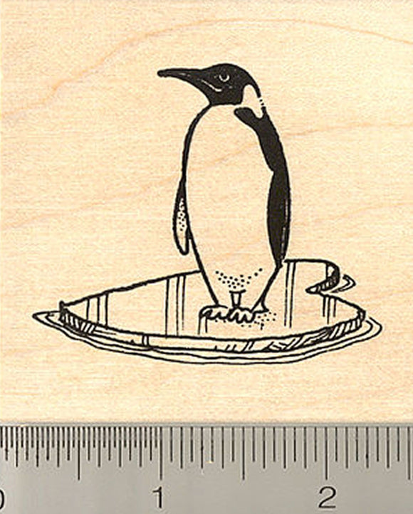 Penguin on Icy Heart-shaped Floe Rubber Stamp
