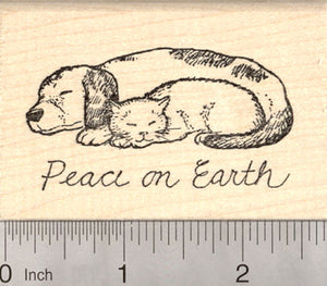 Dog and Cat Peace on Earth Rubber Stamp, Christmas Holiday