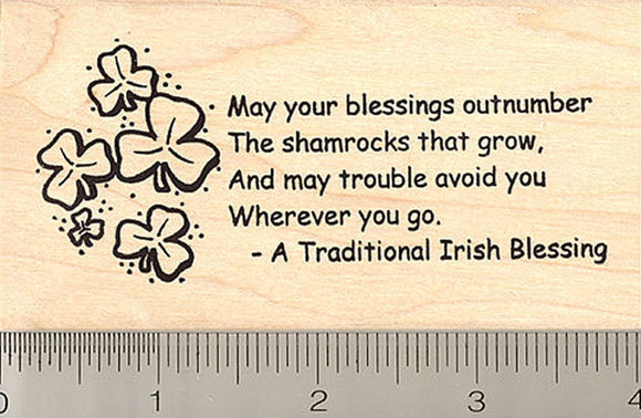 Shamrock Irish Blessing Rubber Stamp