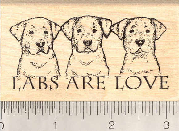 Labs are Love Rubber Stamp, Labrador Retriever Dog