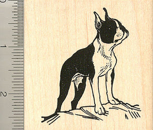 Large Boston Terrier Rubber Stamp