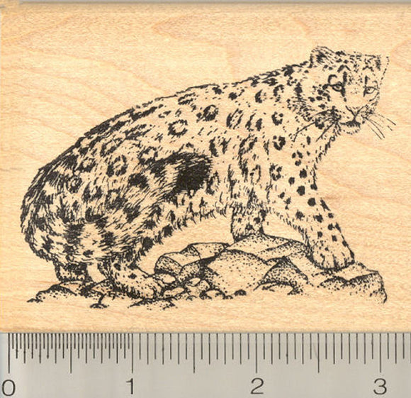 Snow Leopard Rubber Stamp, Endangered Big Cat of Central and South Asia, Pakistan