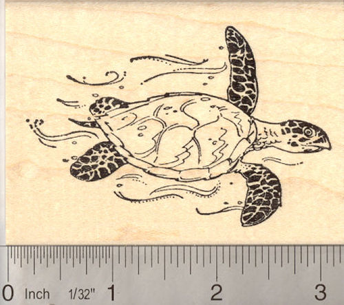 Hawksbill Sea Turtle Rubber Stamp