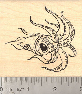 Large Squid Rubber Stamp